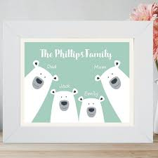 framed personalised polar bear family print personalised with names and choice of colour housewarming gift new baby keepsake