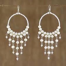 pearl chandelier earrings harmony of white handmade pearl chandelier earrings
