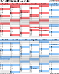 School Calendars 2018 2019 As Free Printable Word Templates