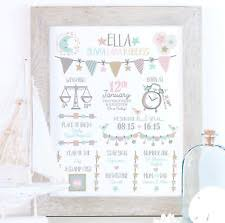 personalised baby picture nursery art new baby gift personalised birth dels