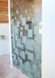 frameless glass shower doors etched glass modern style geometric patterns floating squares sans soucie