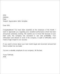 Employee Performance Letter Sample Examples Of Letters Appreciation Letter Template Sample