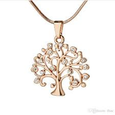 whole creative tree of life diamond pendant necklace europe and the united states personality hollow gold sweater chain fashion jewelry red pendant