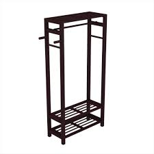 Wood Coat, Shoe Garment Rack,Hat Stand for Hallway or Entryway   Free-Standing Clothing Rail Hanger  Easy to Assemble  Espresso | Stony  Edge