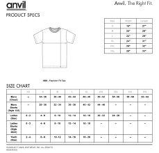 Anvil Youth Shirt Size Chart