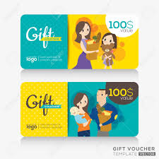 Supermarket Coupon Voucher Or Gift Card Design Template With