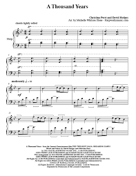 a thousand years piano sheet music a thousand years harp column music