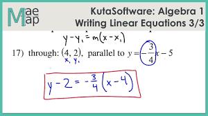 kuta algebra 1 writing linear equations part 3
