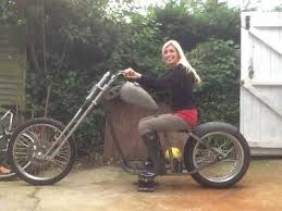 hardbelly on her new chopper it s a cheap hardtail frame i