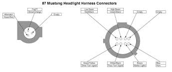 87 and 91 headlight harness pin out diagram ford mustang forums on the 91 harness in the big 8 pin connector what are the light blue and red yellow they both go to a flat 2 pin connector near the battery light brown