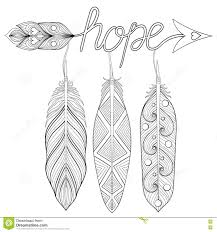 Bohemian Arrow Hand Drawn Amulet With Letters Hope With Feather