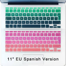 Air 11 Inch Spanish Keyboard Cover Gradient Euro Enter Silicone Spain Keyboard Stickers For Apple Macbook Air Macbook Air 11 Inch Keyboard Stickers Macbook Air