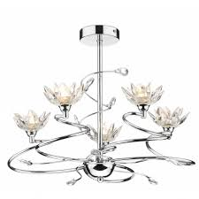 pop0550 poppy 5 light modern ceiling light crystal and polished chrome finish