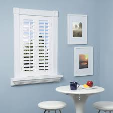 homebasics plantation faux wood white interior shutter picture with
