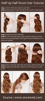 half up half down hair style tutorial easy wedding hairstyles for long hair