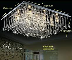 remote control chandelier modern led crystal rectangle dining room bedroom light switch for