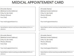 Appointment Card Template Medical Appointment Card