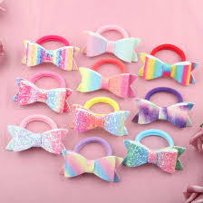 <b>1 PC Girls</b> Hair Accessories Sweet <b>Glitter</b> Hairbow Hair Tie Rainbow ...
