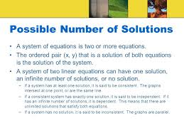possible number of solutions a system of equations is two or more equations
