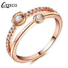 2019 <b>CUTEECO</b> New <b>Rose</b> Gold Finger Rings Silver Gemini Design ...