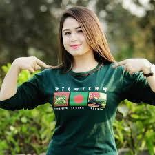 Assamese girl in a green shirt ...
