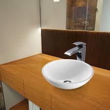 vigo flat edged white phoenix glass circular vessel bathroom sink with faucet reviews wayfair