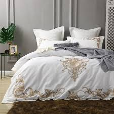 white luxury bedding.  White Golden Embroidery Egyptian Cotton White Luxury Bedding Set King Queen Bed  Cover Set Bedsheets Duvet Quilt With White Luxury AliExpress