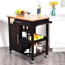 kitchen island cart granite top black rolling portable in mahogany with trash bin