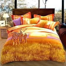 orange duvet cover queen wild prairie giraffes bedding king size thick burnt comforter quilt set orang
