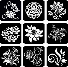 набор трафаретов Bioart для временных тату 19 цветы 9 шт 8х8 см продажа цена в кривом роге аксессуары для тату и боди арта от Bioartpromua