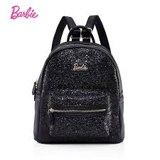 barbie women backpacks lively style sequins bag girls black leather shoulder bags student fashion trend brief young ladies