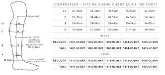Compreflex Sizing Chart Sigvaris 30 40 Mmhg Compreflex Lite