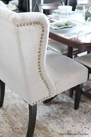 dining room update setting for four wingback chairsnailhead trimdining