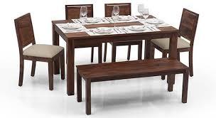 kitchen table. Modren Table Arabia  Oribi 6 Seater Dining Table Set With Bench Teak Finish  On Kitchen