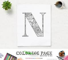 You need just colored pencils. Sale Printable Alphabet Coloring Page Letter N Floral Pattern Etsy