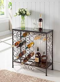 Wine rack table Grey Image Unavailable Amazoncom Amazoncom Kings Brand Furniture Metal With Marble Finish Top