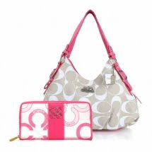 Coach Waverly Flower Charm Large Pink Wallets EEK+Pink Ivory Shoulder Bags  ERF