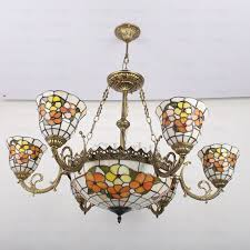 stained glass shade 9 light style light fixture