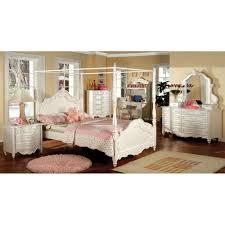 Furniture of America Talia Pearl White 4-Piece Canopy Bed Set (Full ...