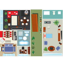 single bed top view. Top View Apartment Interior Set Vector Image Single Bed N