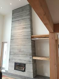 board form concrete fireplace