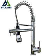 Chrome Spring Pull Down Kitchen Faucet Dual Spouts 360 Swivel