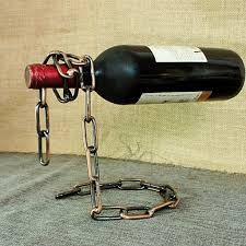 chain wine bottle holder floating illusion rack magic small wall shelf and with glass slim cabinet