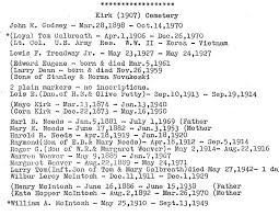 Kirk (1907) Cemetery *(Loyal. Tom Galbreath - Apr.1,1906 - Dec.26,1970  Lowis F. Treadway Jr. - May 23tl927 -