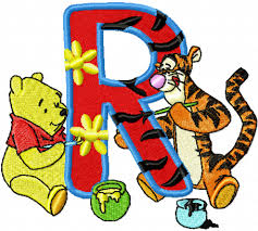 Winnie Pooh And Tigger Painting Alphabet Letter R Embroidery Design