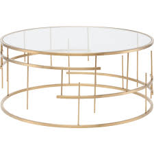 nuevo modern furniture tiffany round coffee table w clear glass on brushed gold stainless steel geometric base