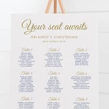 Christening Seating Chart Boy Baptism Seating Plan Navy