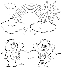 Small Picture Two Care Bears Cheering the Rainbow Coloring Page Download