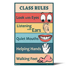 Classroom Rules Sign Chart Laminated Small By Teachers For Young Students Learning In Kindergarten Nursery Pre School Young N Refined 10x20