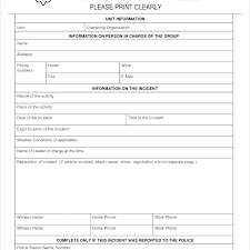 Vehicle Incident Report Template